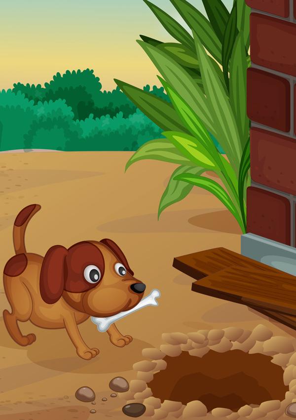 Собака роет ямы во дворе